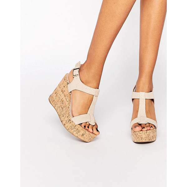 DUNE Kier blush cork wedge sandals - Wedges by Dune Real leather upper Textured effect T-bar...