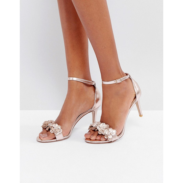 DUNE Magnolea Rose Gold Flower Trim Heel Sandal - Shoes by Dune, Faux-leather upper, Metallic finish, Floral...