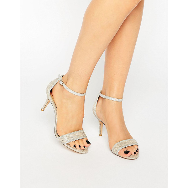 DUNE Maria Gold Lurex Ankle Strap Mid Heeled Sandals - Heels by Dune, Textured upper, Ankle-strap fastening, Open...