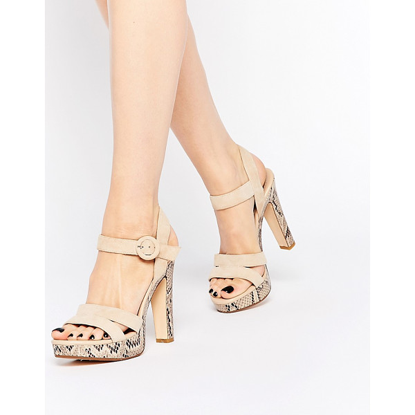 DUNE Marthaa Platform Cross Strap Suede Heeled Sandals - Shoes by Dune, Suede upper, Pin buckle strap, Contrast...