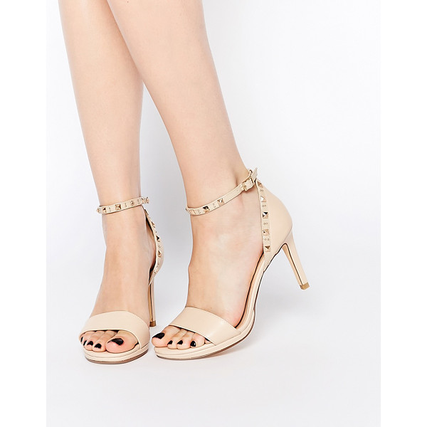 DUNE Missie nude leather two part studded heeled sandals - Heels by Dune Smooth leather upper Gold-tone hardware Pin...