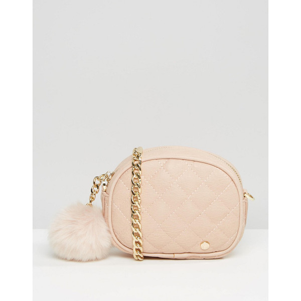 DUNE Quilted Micro Bag With Pom in Blush - Cart by Dune, Faux-leather outer, Quilted design, Fully...
