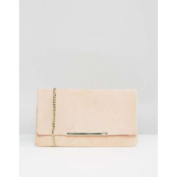 DUNE Suedette foldover clutch bag in blush - Clutch bag by Dune, Suede outer, Branded lining, Optional...