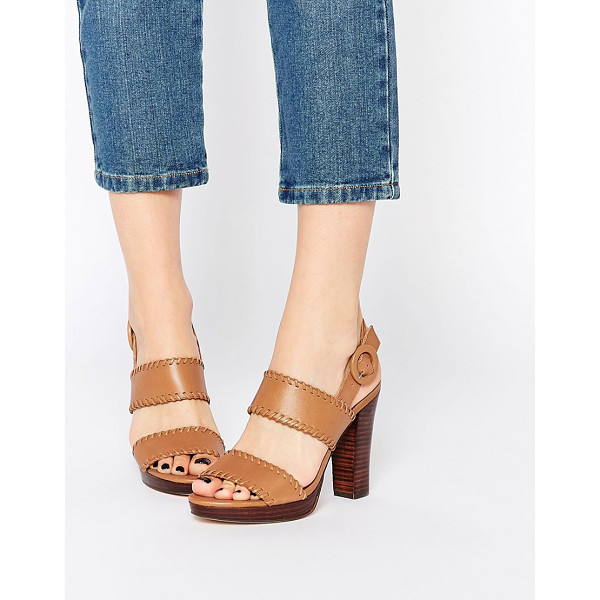 DUNE Tan Leather Double Strap Sandals - Heels by Dune, Smooth leather upper, Slingback with pin...