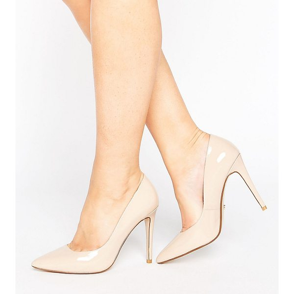 """DUNE WIDE FIT Dune London Wide Fit Nude Patent Pumps - """"""""Shoes by Dune, Patent leather upper, Slip-on style,..."""