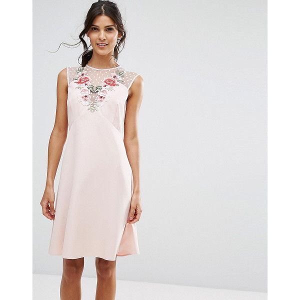 ELISE RYAN A Line Dress In Mesh And Floral Applique - Dress by Elise Ryan, Smooth woven fabric, Mesh and floral...