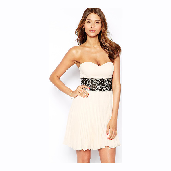 ELISE RYAN Bandeau dress with scallop lace waist - Hand Wash Only. Main: 100% Polyester Lining: 100% Polyester...