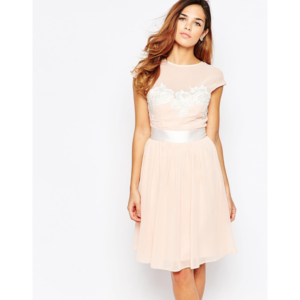 ELISE RYAN Midi Skater Dress With Floral Lace Applique - Midi dress by Elise Ryan, Lined woven fabric, Round mesh...