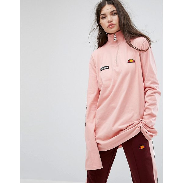 ELLESSE Long Sleeve Top With High Half Zip Neck And Sleeve Logo - Top by ellesse, Soft-touch jersey, High neck, Zip front,...
