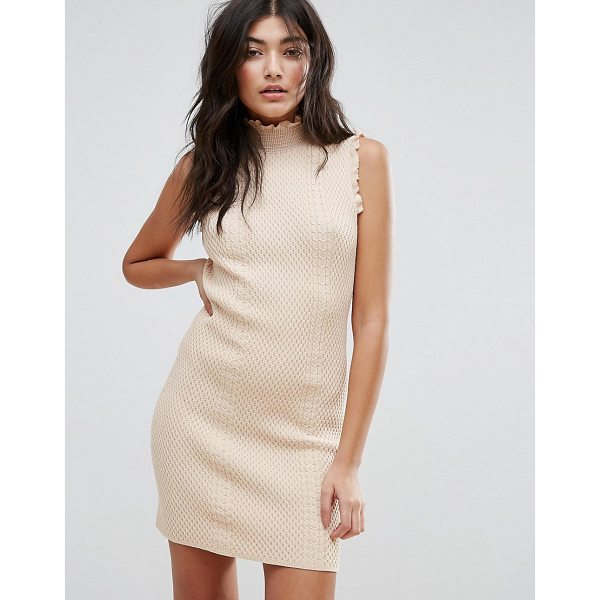 "ENDLESS ROSE High Neck Textured Bodycon Dress - """"Dress by Endless Rose, Textured fabric, High neck, Frill..."