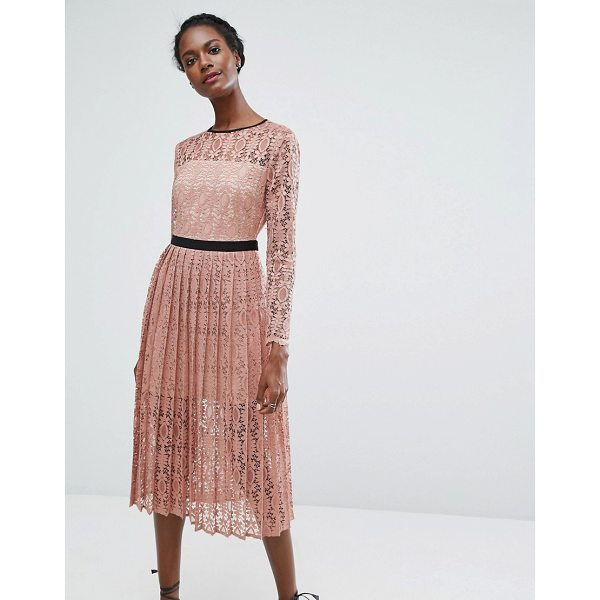 "ENDLESS ROSE Lace Midi Dress With Pleated Skirt - """"Dress by Endless Rose, Lined sheer lace, Mini-length..."