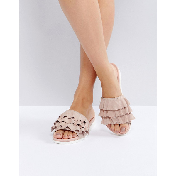 FAITH Blush Frill Flat Sandals - Sandals by Faith, Leather upper, Slip-on style, Open toe,...