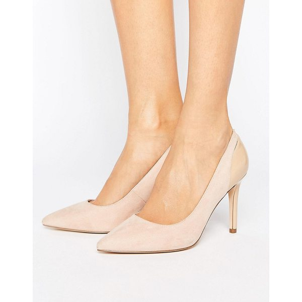 FAITH Callie Pointed Pumps - Shoes by Faith, Faux-suede upper, Slip-on design, Patent...