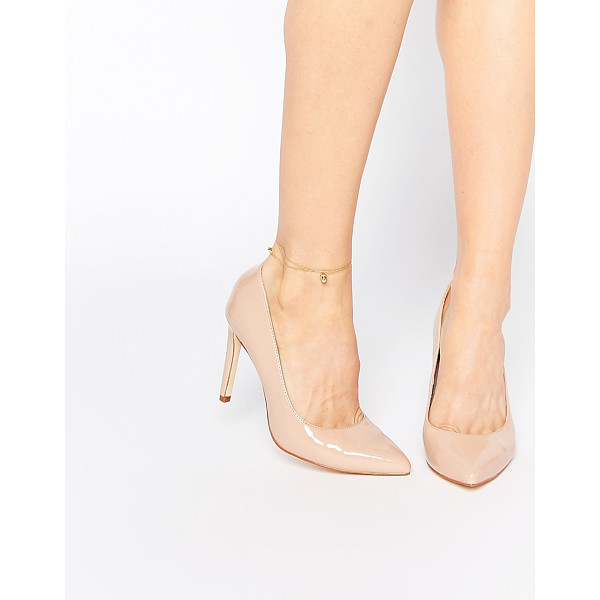 FAITH Carey Nude Patent Pumps - Heels by Faith, Patent, leather-look upper, Slip-on style,...