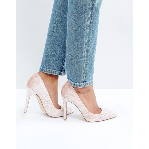 "FAITH Cassidy Blush Velvet Pumps - """"Heels by Faith, Crushed velvet upper, Slip-on style,..."