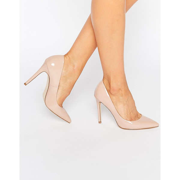 FAITH Chloe Patent Nude Pumps - Heels by Faith, Faux-leather upper, Slip-on style, Pointed...