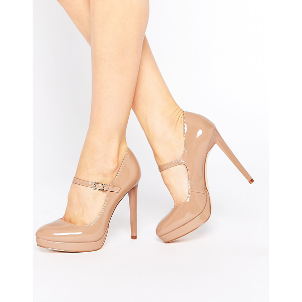 FAITH Chrissie nude patent mary jane shoes - Heels by Faith, Leather-look upper, Patent finish, Pin...