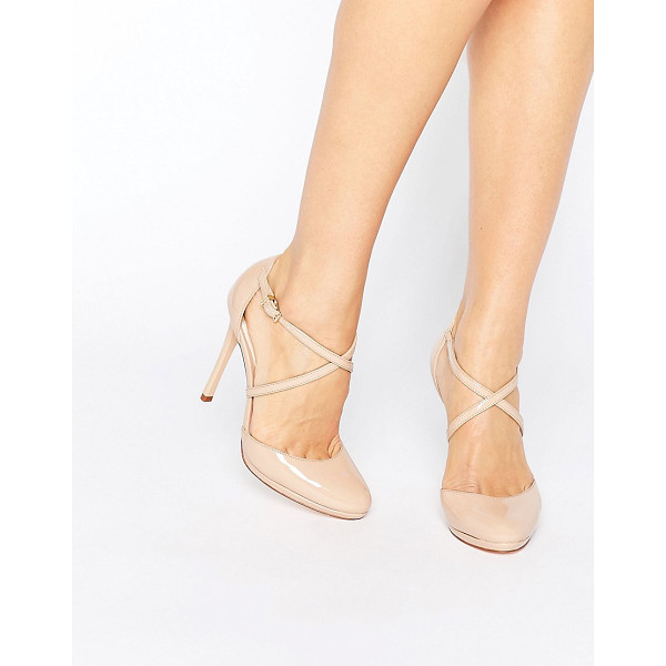 FAITH Clara Nude Strappy Heeled Shoes - Heels by Faith, Patent upper, Pin-buckle fastening,...