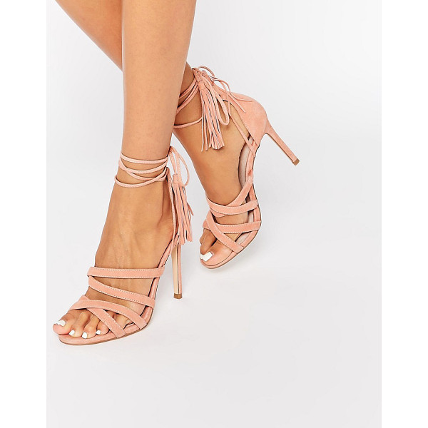 FAITH Daft Pink Suede Ghillie Tie Up Heeled Sandals - Heels by Faith, Suede upper, Lace-up closure, High heel,...
