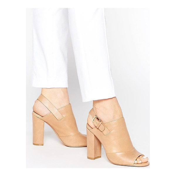 FAITH Dre Nude Peep Toe Shoe Boots - Boots by Faith, Real leather upper, Pin-buckle fastening,...