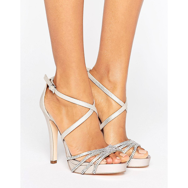 """FAITH Leslie Embellished Strap Heeled Sandals - """"""""Heels by Faith, Textured faux-leather upper, Ankle-strap..."""