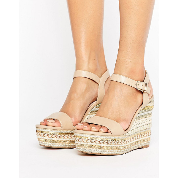FAITH Lily Espadrilled Nude Wedge Heeled Sandals - Wedges by Faith, Faux-leather upper, Pin-buckle fastening,...