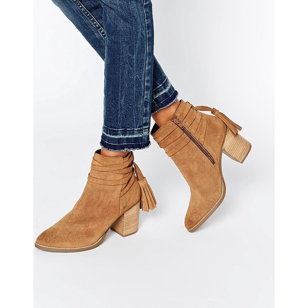 FAITH Tassle Suede Heeled Ankle Boots - Boots by Faith, Suede upper, Side zip fastening, Tassel