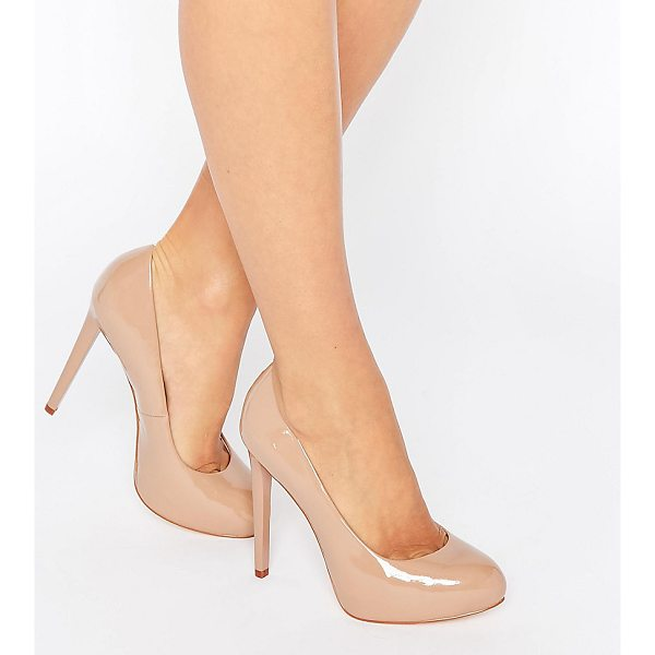 FAITH WIDE FIT Cadles Nude Platform Pumps - Shoes by Faith, Faux-leather upper, Patent finish, Real...