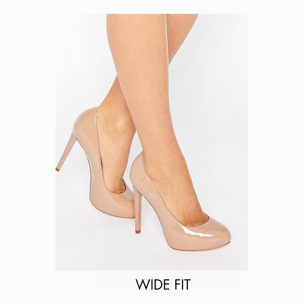 FAITH WIDE FIT Cadles Nude Platform Pumps - Shoes by Faith, Faux-leather upper, Patent finish, Real