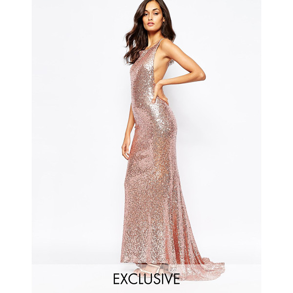 FAME AND PARTNERS Sequin paradise embellished maxi dress with open back - Maxi dress by Fame and Partners Sequin embellished fabric...