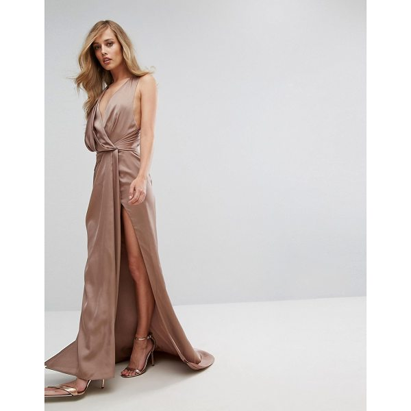 """FAME AND PARTNERS Wrap Maxi Gown with Fishtail - """"""""Maxi dress by Fame and Partners, Smooth satin-style..."""