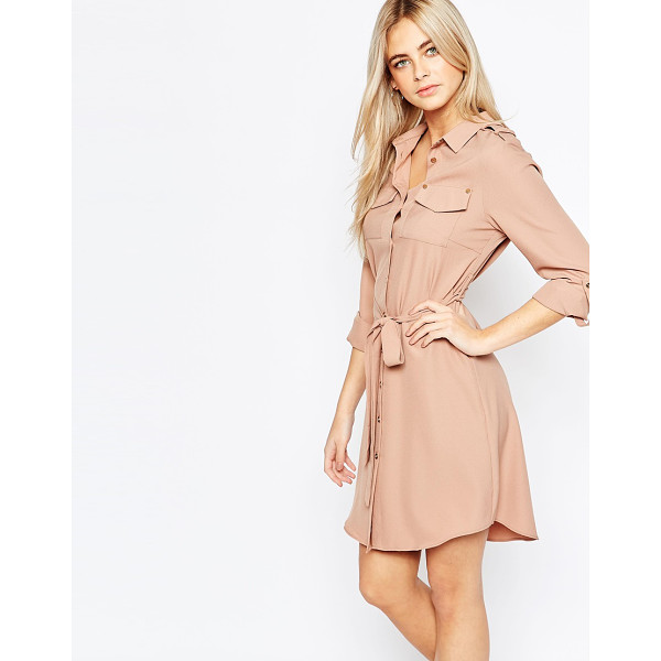 FASHION UNION Belted shirt dress with pockets - Dress by Fashion Union Lightweight woven fabric Point...