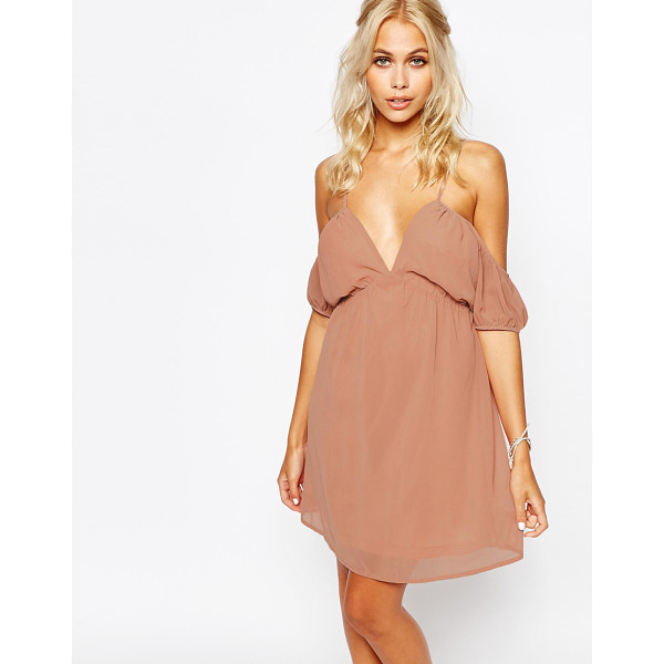 FASHION UNION Cami Dress with Cold Shoulder - Dress by Fashion Union, Lightweight chiffon, Fully lined,...