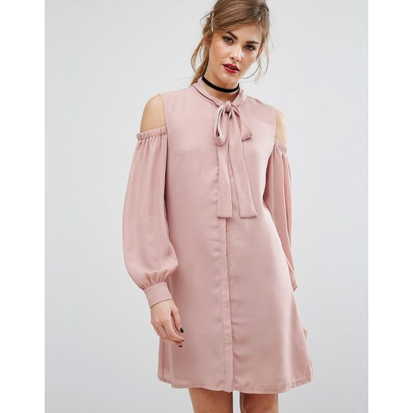 """FASHION UNION Cold Shoulder Dress With Tie Up Bow Neck - """"""""Dress by Fashion Union, Woven fabric, Pussy-bow neck,..."""