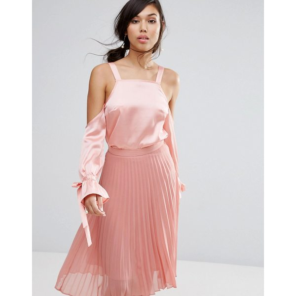 """FASHION UNION Cold Shoulder Top In Satin - """"""""Top by Fashion Union, Soft-touch satin, Square neck,..."""