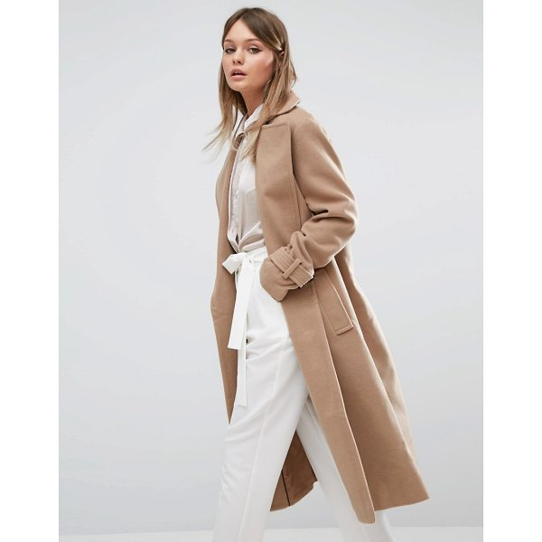 FASHION UNION Full Length Smart Over Coat - Coat by Fashion Union, Textured woven fabric, Wide lapels,...