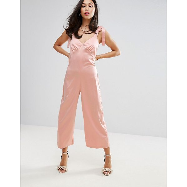 "FASHION UNION Jumpsuit In Satin - """"Jumpsuit by Fashion Union, Soft-touch satin, V-neck, Tie..."