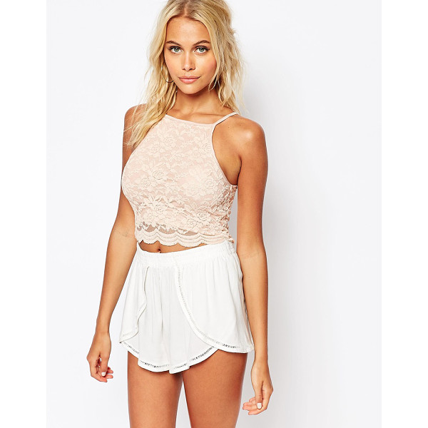 FASHION UNION Lace tank - Tank by Fashion Union, Lined lace, Square neckline, Cropped...
