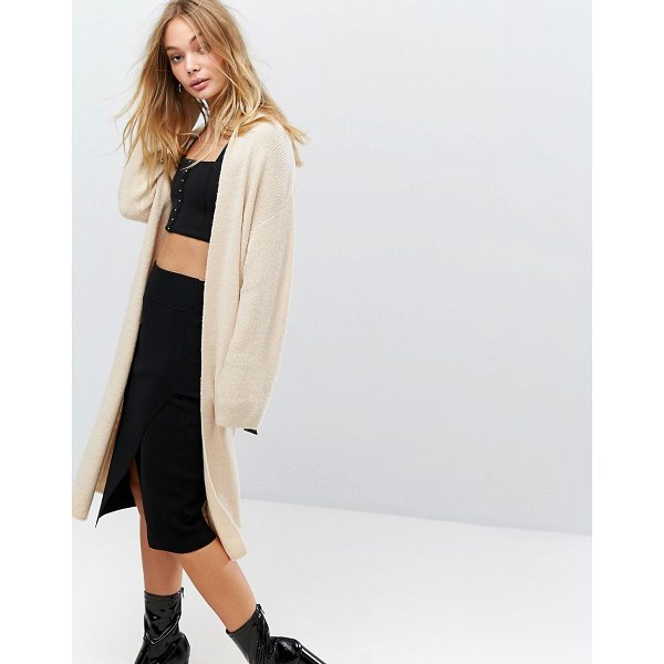 """FASHION UNION Longline Knitted Cardigan With Buckle Detail - """"""""Cardigan by Fashion Union, Soft-touch ribbed knit, Added..."""
