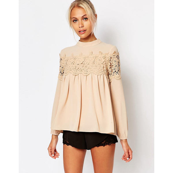 FASHION UNION Pretty Lace Blouse - Blouse by Fashion Union, Textured woven fabric, Lined body,...