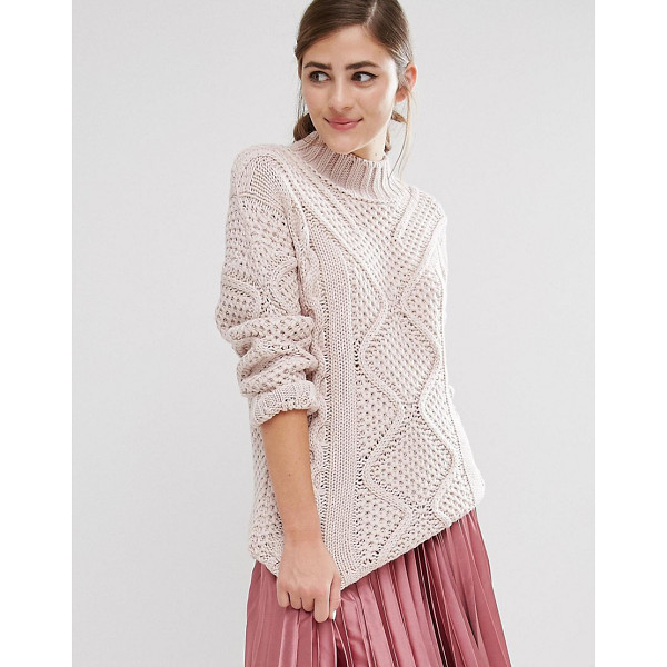 FASHION UNION Roll Neck Knitted Sweater - Sweater by Fashion Union, Chunky knit, Roll neckline,...