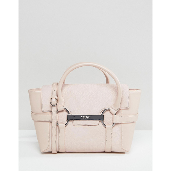 FIORELLI Barbican Mini Foldover Blush Tote Bag With Metal Bar Detail - Cart by Fiorelli, Faux leather, Printed lining, Twin