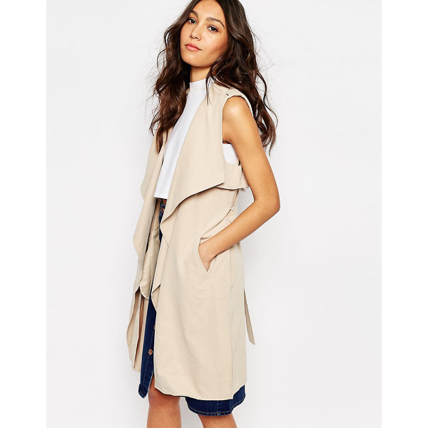 FIRST & I Sleeveless trench coat - Coat by First I, Unlined woven fabric, Silky-feel finish,...