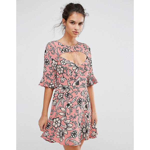 FOR LOVE & LEMONS For Love and Lemons Ayla Laced Up Dress in Print - Dress by For Love And Lemons, Textured woven fabric, Floral...