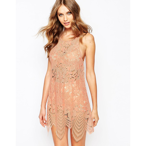 FOR LOVE & LEMONS Mini dress in lace - Lace dress by For Love And Lemons Sheer floral lace Round...