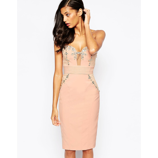 FOREVER UNIQUE Adele bandeau midi dress with embellishment - Midi dress by Forever Unique Woven, firm-stretch fabric...