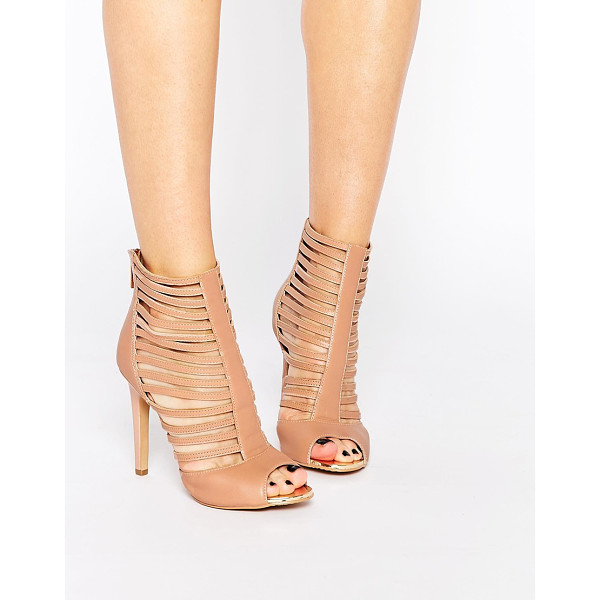 FOREVER UNIQUE Boundary Caged Leather Heeled Sandals - Shoes by Forever Unique, Real leather upper, Caged strap...