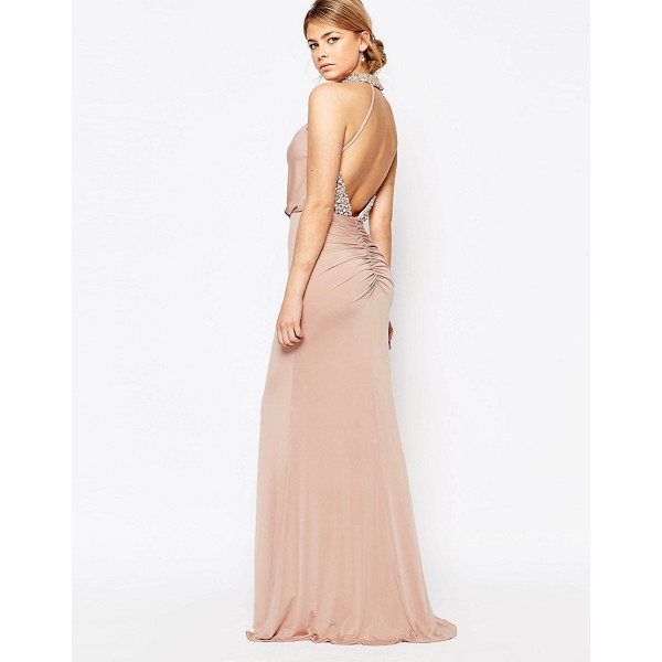 FOREVER UNIQUE Embellished High Neck Dress with Open Back - Maxi dress by Forever Unique, Silky feel stretch woven...