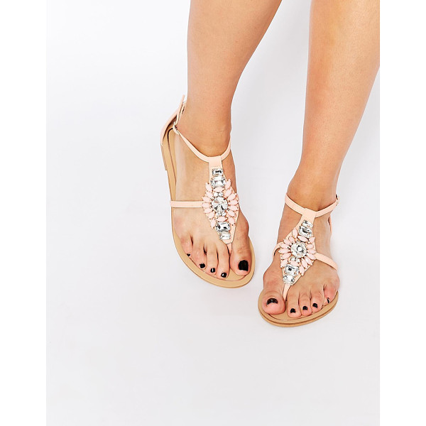 FOREVER UNIQUE Flavia embellished flat sandals - Shoes by Forever Unique Leather-look upper Crystal...