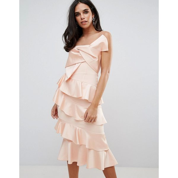 "FOREVER UNIQUE Frill And Bow Detail Midi Dress - """"Dress by Forever Unique, Smooth woven fabric, Sheer mesh..."